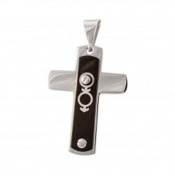 Přívěsek kříž s gay symbolem